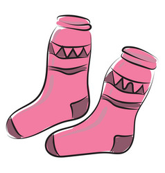 pink socks on white background vector image