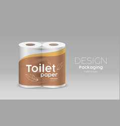 plastic roll toilet paper packaging leaf vector image