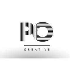 Po p o black and white lines letter logo design vector