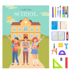 Pupils with book back to school postcard vector