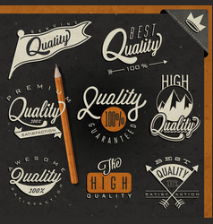 retro vintage style premium quality labels collect vector image
