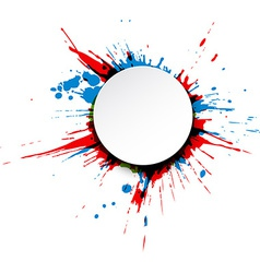 Round paper note over ink splash vector image vector image