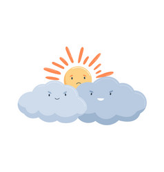 sad sun hiding behind clouds with evil smiles vector image
