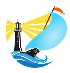sailboat and lighthouse vector image