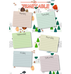school timetable background for students or pupils vector image