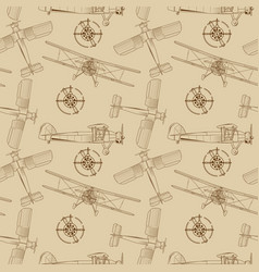 Seamless background with vintage airplane vector