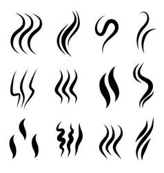 set hand drawn doodle smoke symbol aroma vector image