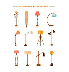 set of colorful cartoon floor lamps light vector image
