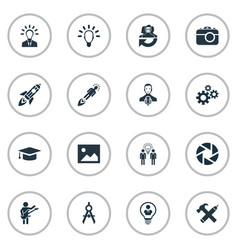 set of simple visual art icons vector image