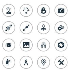Set simple visual art icons vector