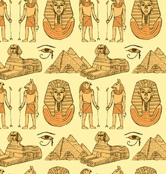 Sketch Egyptian symbols in vintage style vector