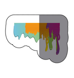 Sticker paint colorful dripping design vector