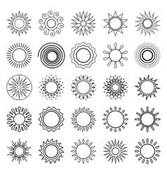 Sun line symbols vector