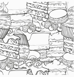 sweet baked desserts outline seamless pattern in vector image