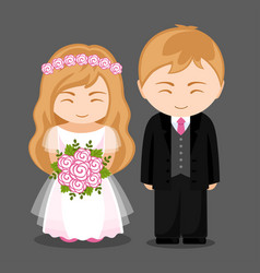 sweet newlywed couple vector image