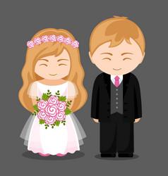 Sweet newlywed couple vector