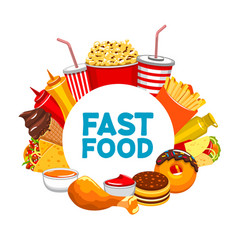 Takeaway food banner popcorn and soda fastfood vector