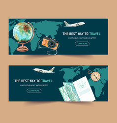 Tourism day banner design with plane flight vector
