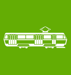 tram icon green vector image