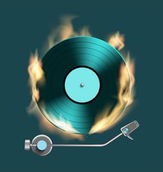 Vintage retro vinyl music disc on fire vector