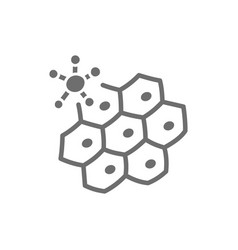 Virus attacks cell grey icon isolated on white vector