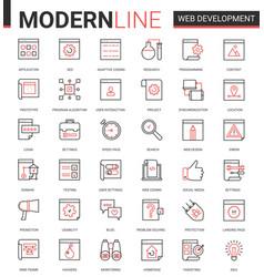 Web development thin red black line icon vector
