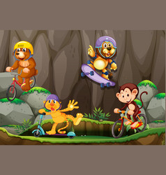 Wild animals playing extreme outdoor sport vector
