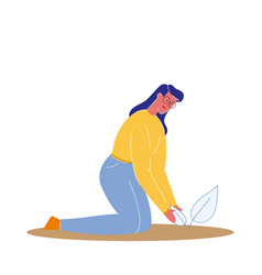 Woman planting sprout flat vector