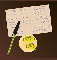 Workplace desk notes in a notebook top angle view vector