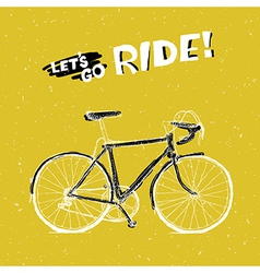 bicycle yellow poster vector image