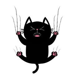 Black fat cat nail claw scratch glass screaming vector