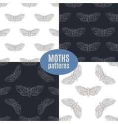 Hand drawn hawk moth seamless patterns set vector image vector image