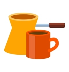 Ibrik cezve coffee time vector image