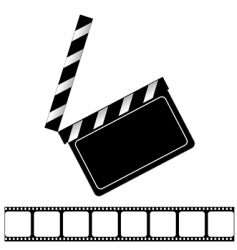 movie clapper board and filmstrip vector image