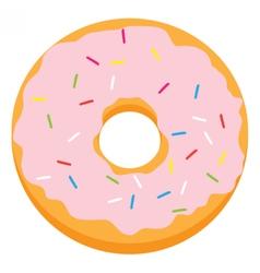 Pink glazed ring doughnut vector image