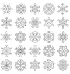 snowflake set in zentangle style 25 original snow vector image