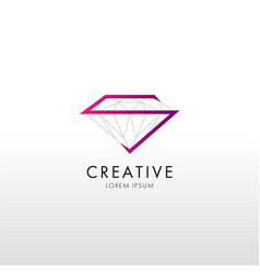 trendy flat design crystal line logo vector image