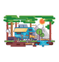 Camping in nature vector
