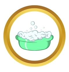 Green baby bath with foam icon vector image