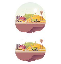 low poly farm field works vector image
