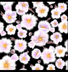 seamless soft pattern with anemones small flowers vector image vector image
