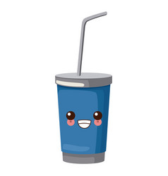 soda cup with straw cute kawaii cartoon vector image