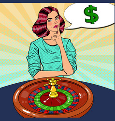 woman behind roulette table dreaming about big win vector image vector image