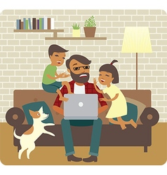 Busy father freelancer vector image