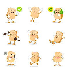collection of bread cartoon eps 10 vector image vector image