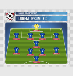 football or soccer starting lineup with editable vector image