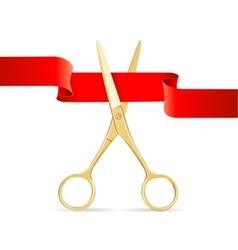 Golg Scissors Cut Red Ribbon vector image