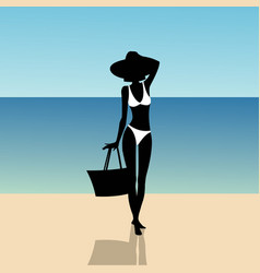 silhouette of a girl on the beach vector image vector image