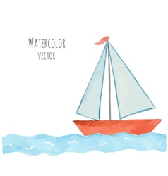 Watercolor boat with a flag on the blue waves vector image