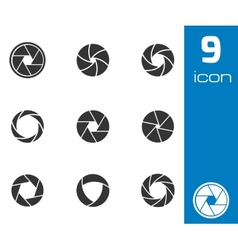 black camera shutter icons set vector image vector image